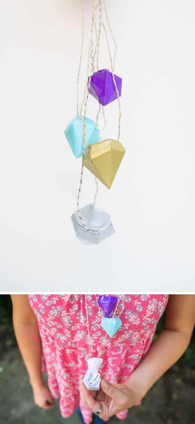 DIY Necklace with Diamond Pinatas | Hello Glow
