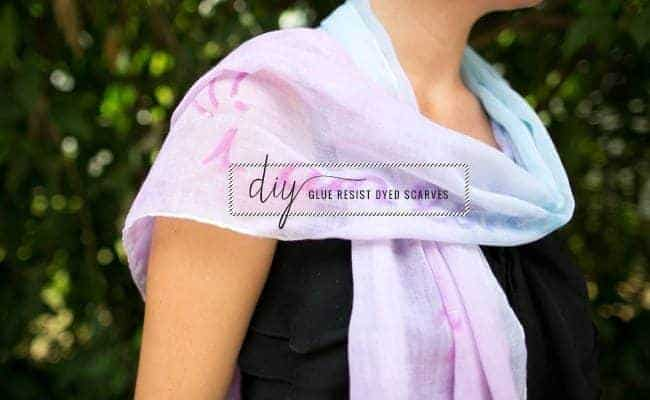 Glue resist dyed scarves