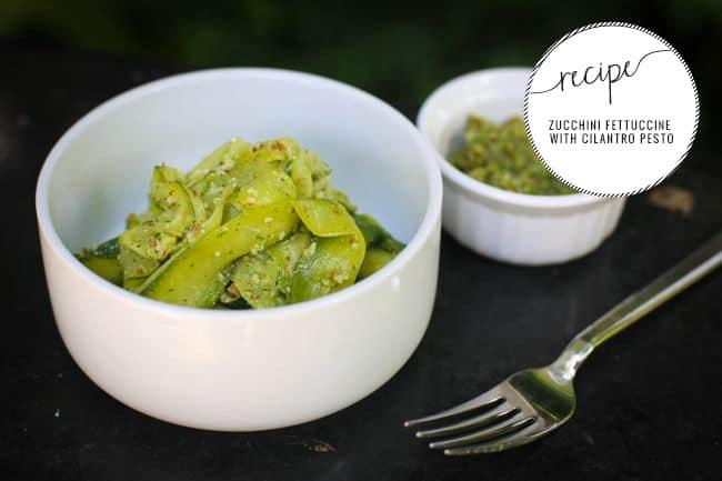 Zucchini fettuccine with cilantro pesto