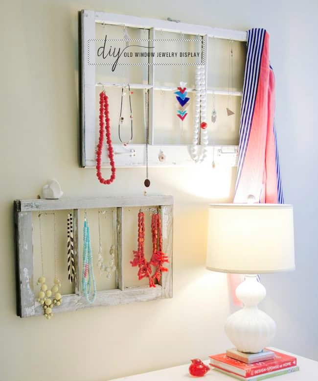 DIY Jewelry Display from Old Windows | Hello Glow