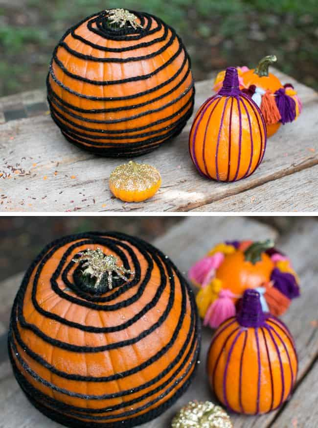 DIY Yard Wrapped Pumpkins