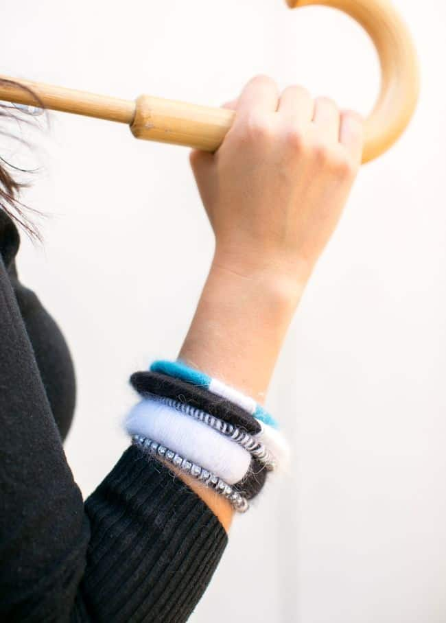 DIY Color Block Angora Bracelets   Henry Happened