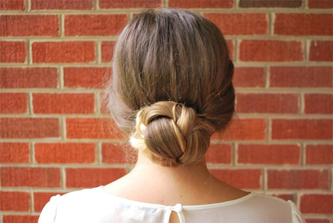 Braided Bun | 25 Easy Updos | HelloGlow.co