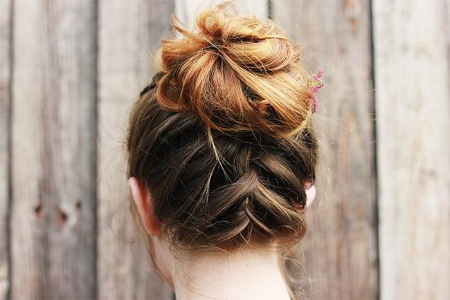 Upside down french braid | 25 Easy Updos | HelloGlow.co bun