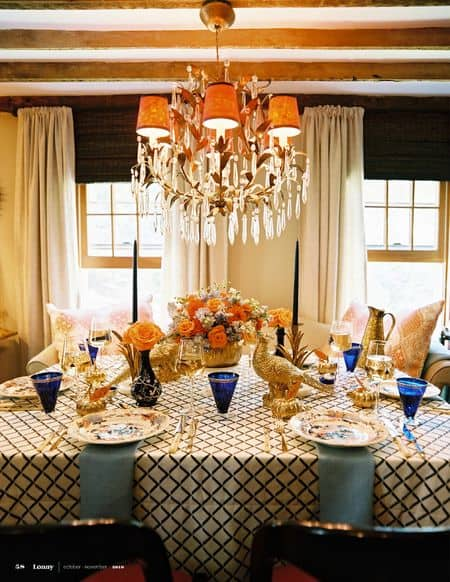 Blue & Gold Thanksgiving Table