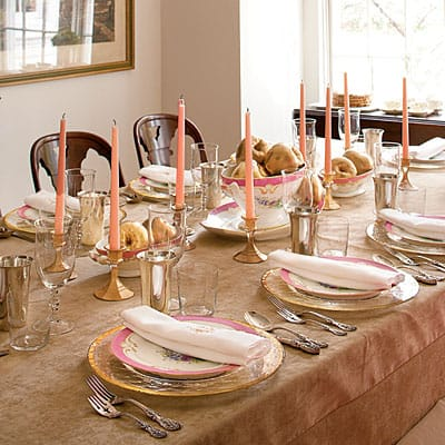 Pink & Gold Thanksgiving Table