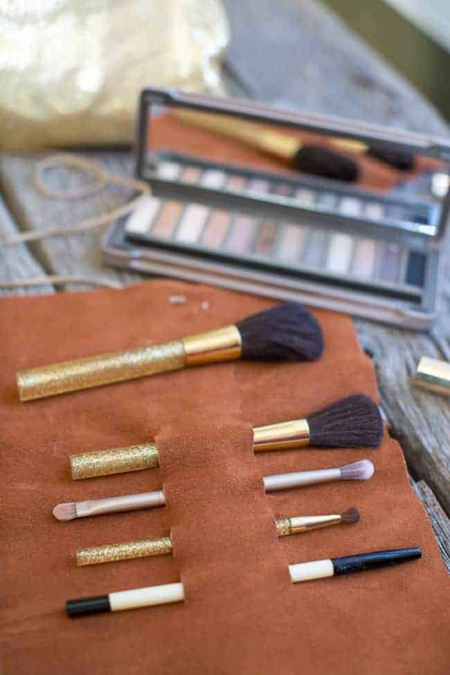 DIY Leather Makeup Brush Holder | Hello Glow
