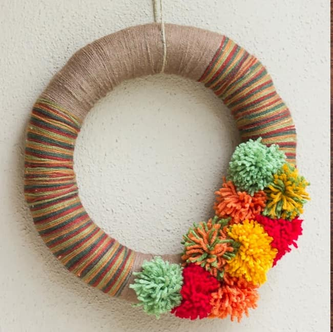Pom Pom Yarn Wreath