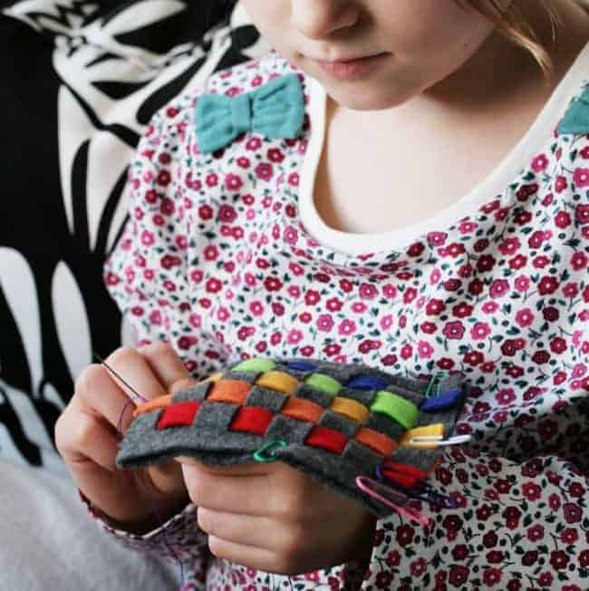 Kid Craft! DIY Rainbow Woven Felt Coasters