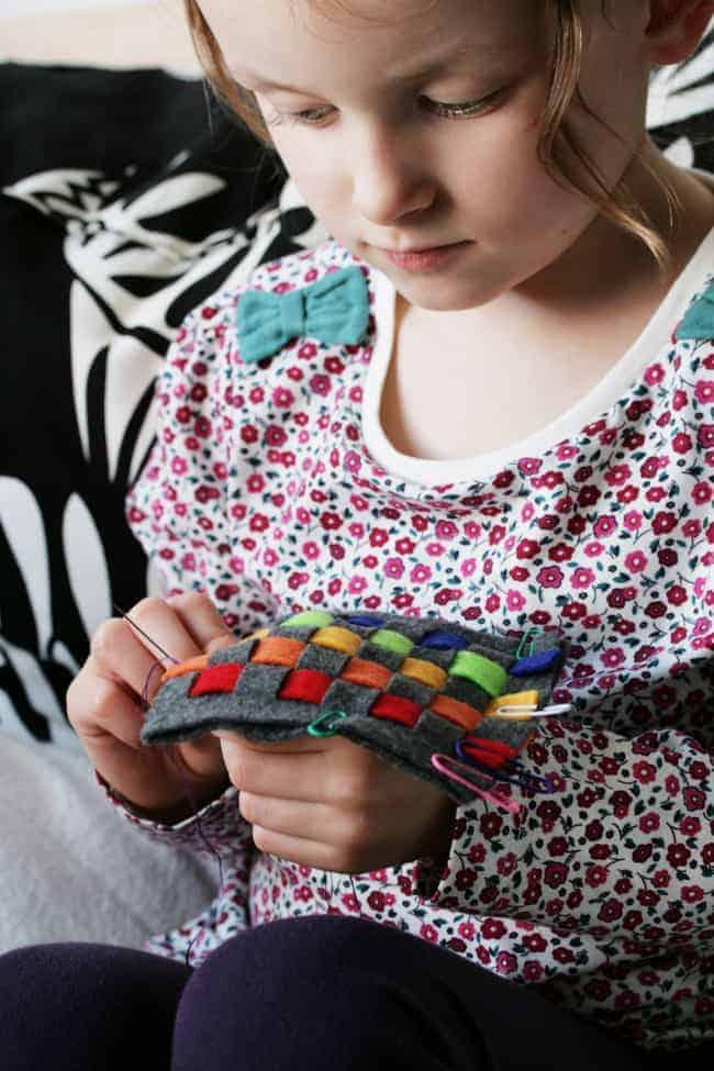 kid craft diy rainbow woven felt coasters hello glow
