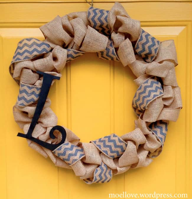DIY Burlap Monogrammed Wreath