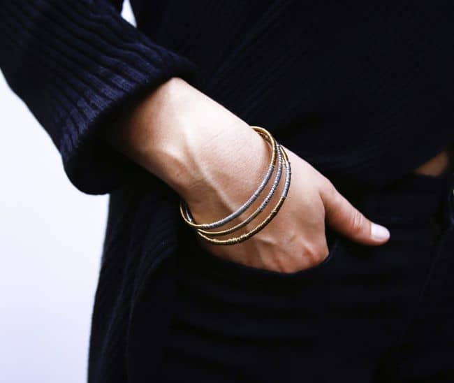 DIY Gold + Silver Wire Bangles