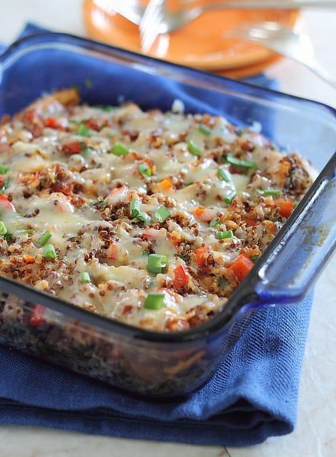 cheddar chicken quinoa bake