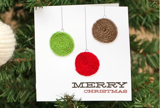 diy holiday cards twine ornaments