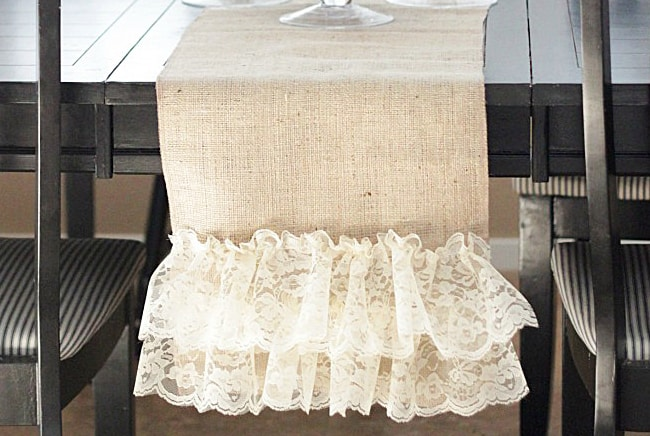 Burlap + Lace table runner