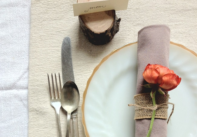 Fresh flower napkin rings