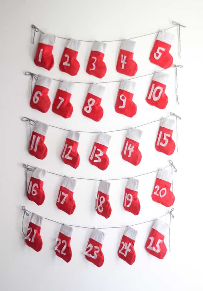 DIY Stocking Garland + Advent Calendar | Hello Glow