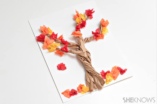 fall kids craft paper tree