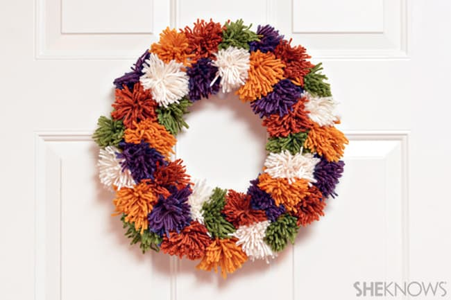 Kid-Friendly Fall Pom-Pom Wreath
