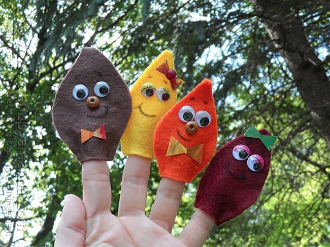 kids fall crafts finger puppets