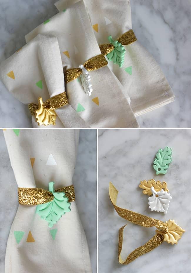 DIY Clay Leaf Napkin Rings   Hello Glow
