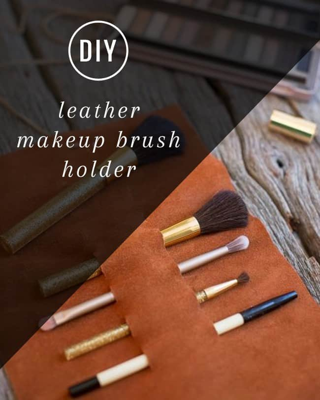 DIY Leather Makeup Brush Holder | Hello Glow