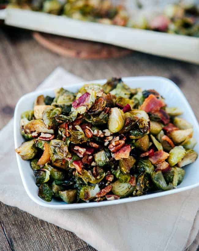 Maple Bacon Roasted Brussels Sprouts | HelloGlow.co