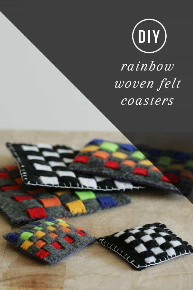 DIY Rainbow Woven Felt Coaster | Hello Glow