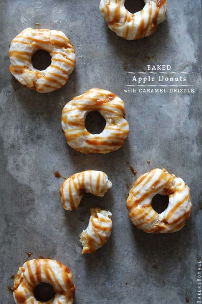 Baked Apple Doughnuts with Caramel Drizzle