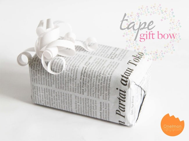 Tape Gift Bow | 25 Ways to Tie a Bow | HelloGlow.co