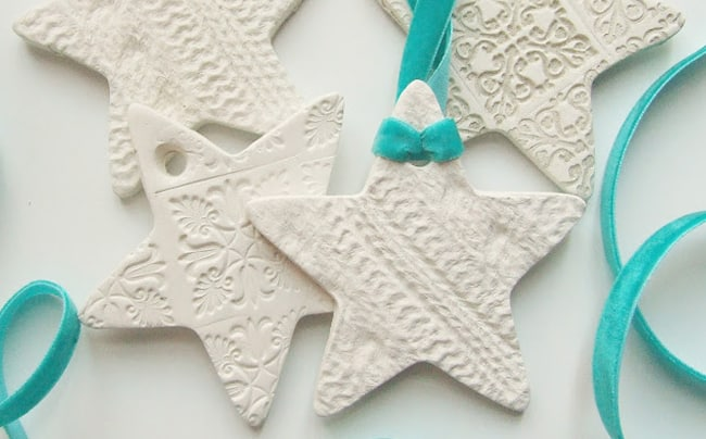 25 DIY Ornaments Embossed Clay Shapes
