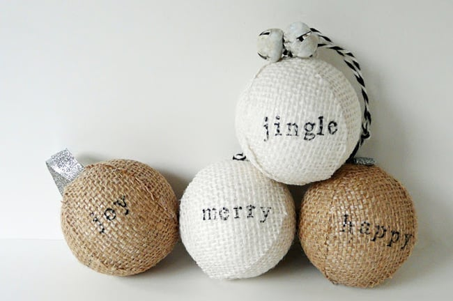 25 DIY Ornaments Burlap Ball Ornaments