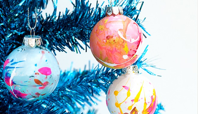 25 diy ornaments paint splatter