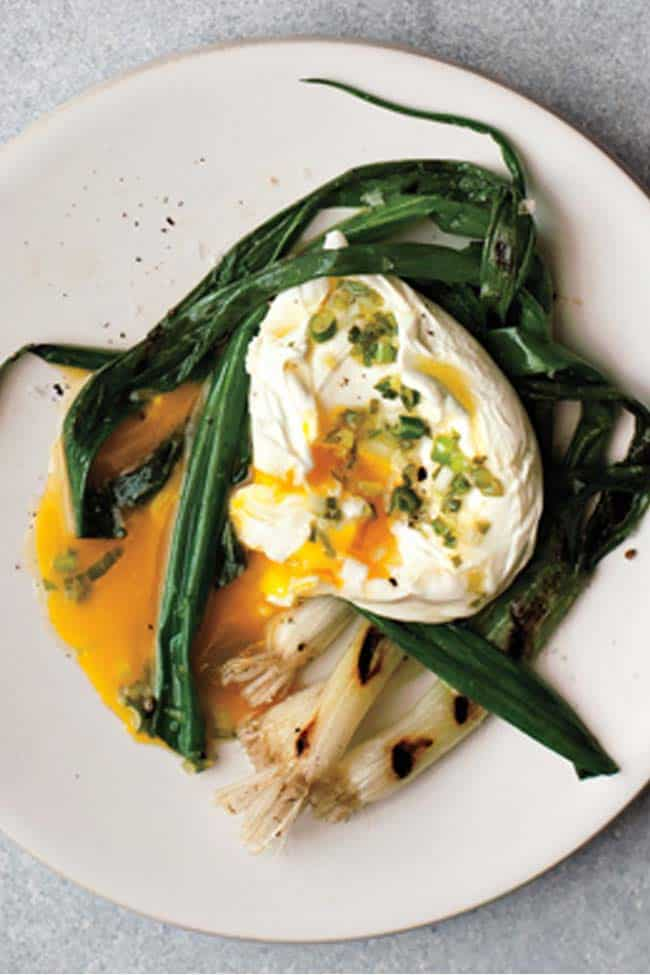 Seared Scallions with Poached Eggs