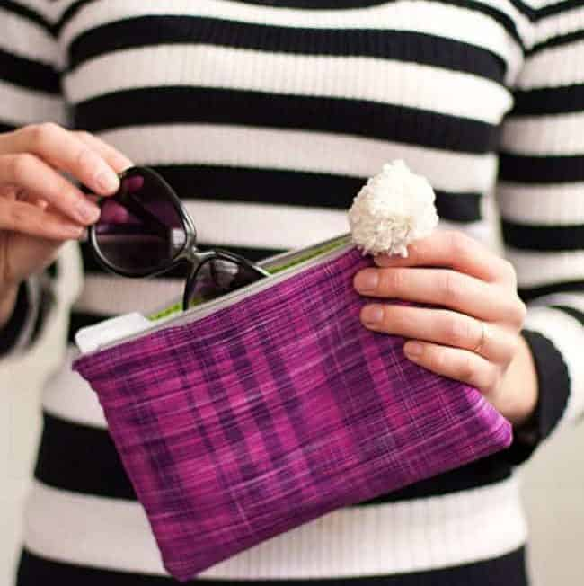 DIY Zipper Clutch with Monogram or Pom Pom
