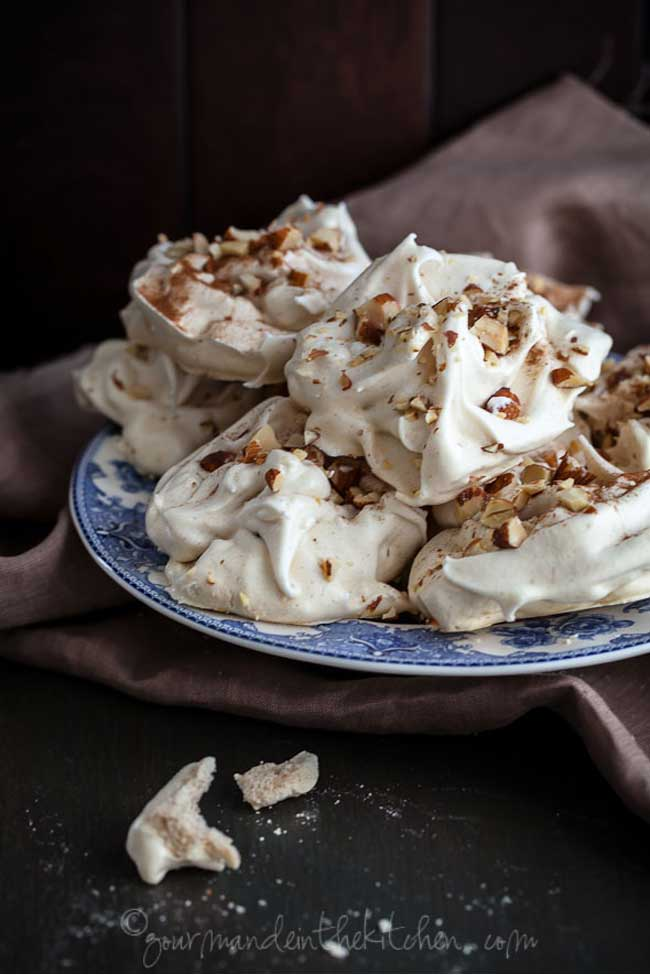 Maple Cinnamon Meringues with Toasted Almonds