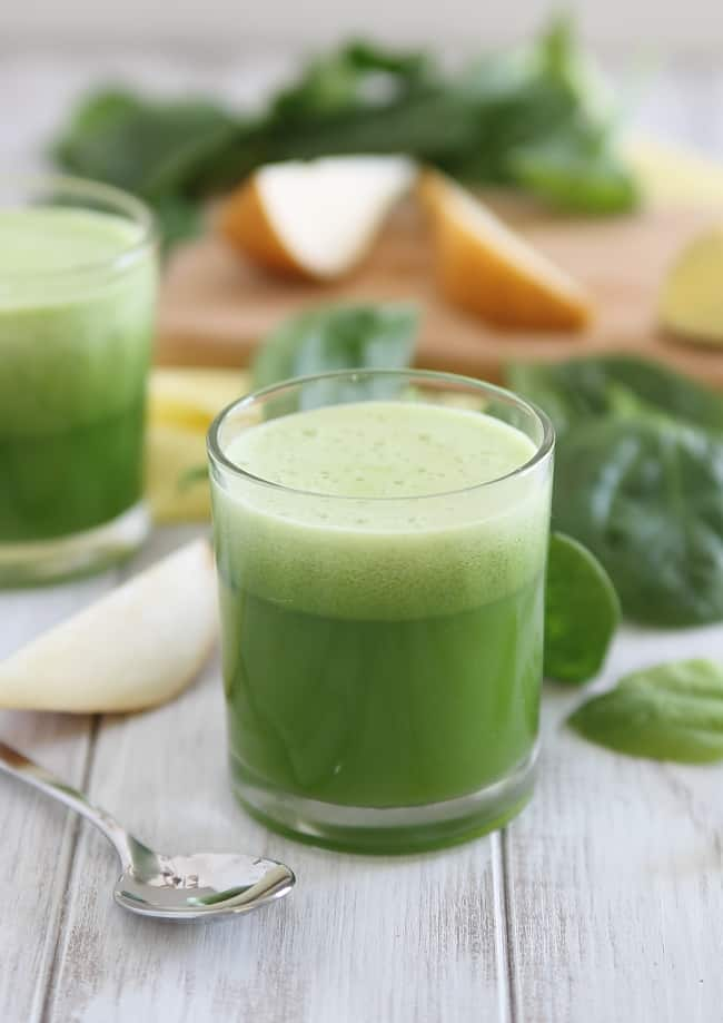 Ginger Pear Bellini + Next Day Pear Spinach Detox Juice