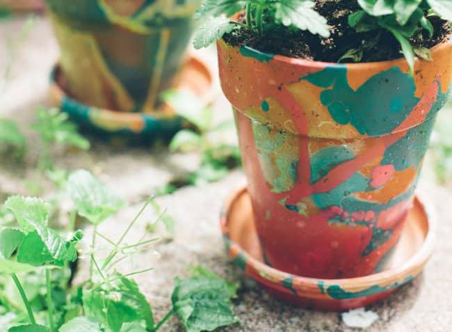 Nail Polish Marbled Planters | Hello Glow