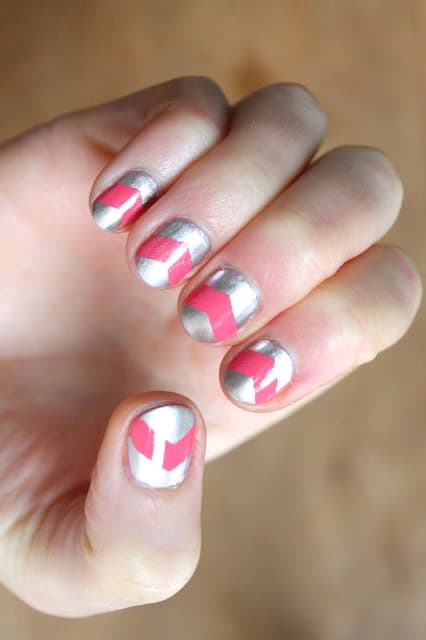 Pink & silver chevron nails