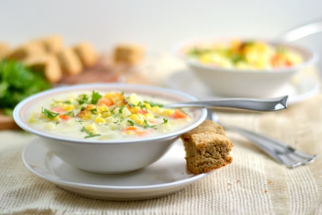 Creamy Vegetarian Roasted Corn Chowder