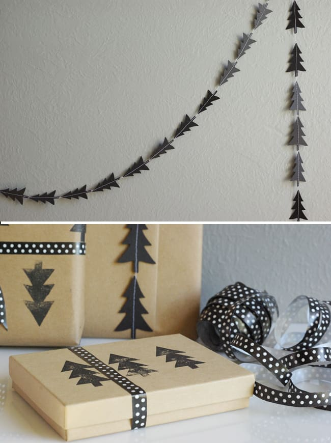 DIY Black Tree Garland and Stamped Wrapping Paper | Hello Glow