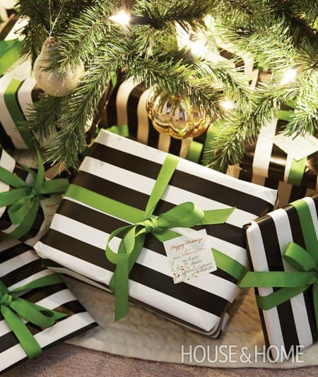 Striped gift wrap