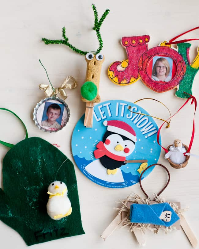 kids' homemade ornaments