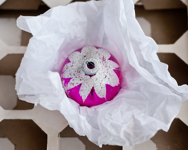 magenta ornament + tissue paper