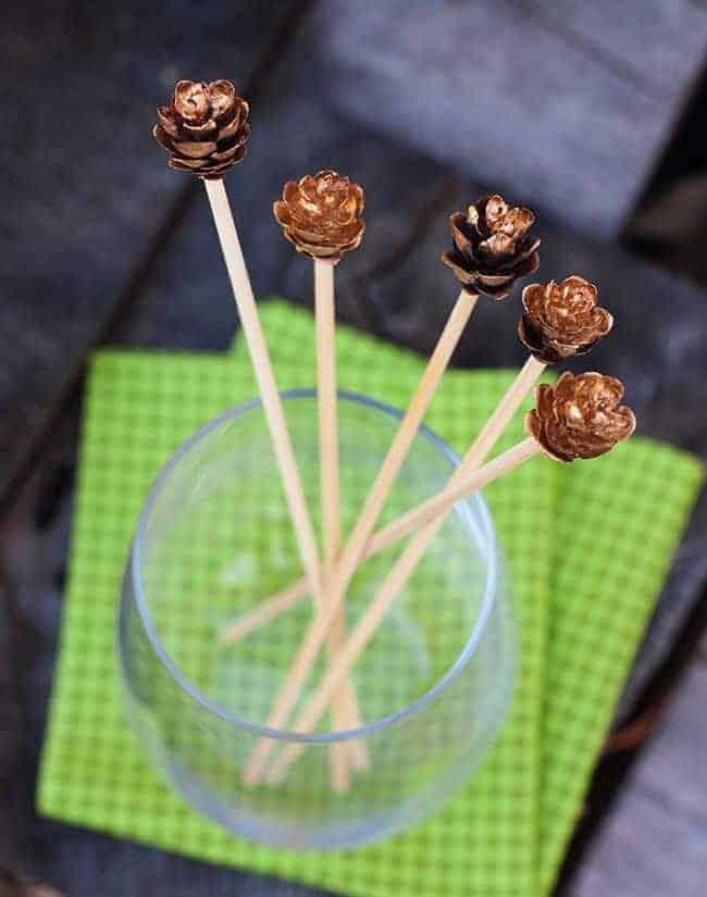 DIY Gold Leaf Pine Cone Stir Sticks | Hello Glow