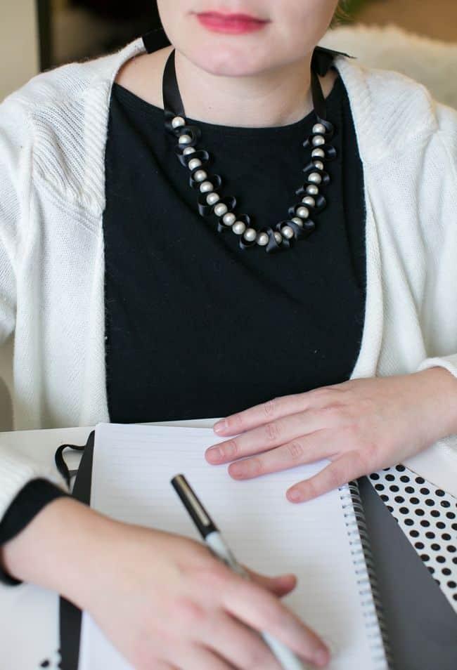 DIY RIbbon + Pearl Necklace | Hello Glow