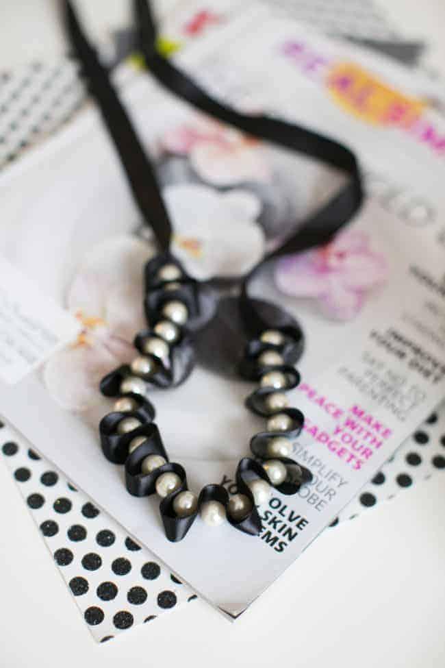 DIY Pearl + Ribbon Necklace   Hello Glow