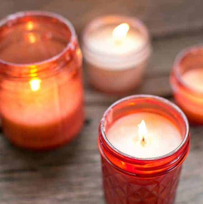 DIY Pink Mason Jar Candles