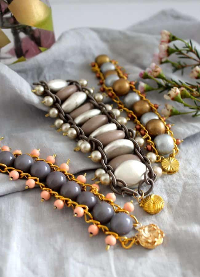 DIY Bead + Chain Bracelet