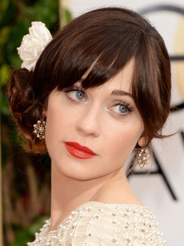 Zooey Deschanel's side bun
